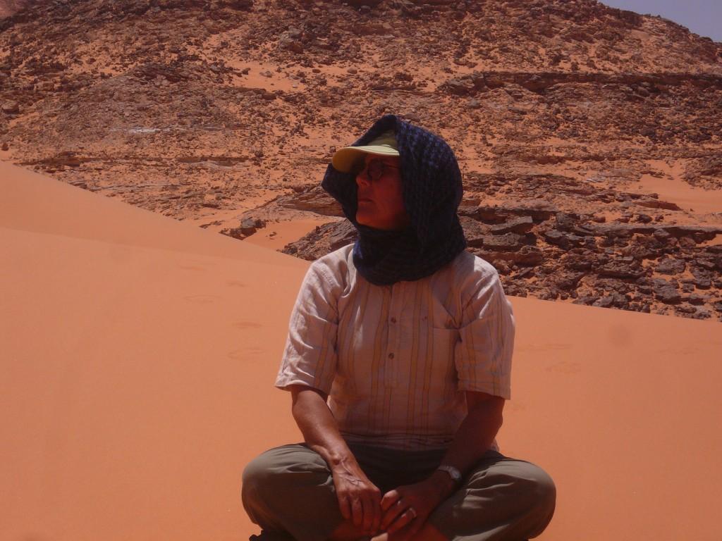 Kathleen in the Gilf Kebir region of the Western Desert of Egypt on a desert safari in June with friends from the American University in Cairo. [Courtesy of Kathleen Saville]